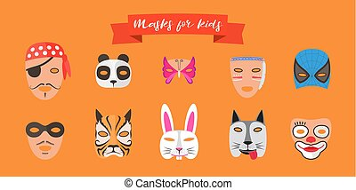 Masks for kids with animals vector illustration