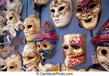 Masks in Venice in Italy - Several masks in Venice in Italy