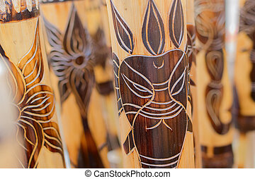 Masks made of cane, handicrafts on display