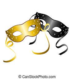 masks., wektor, dwa, karnawał