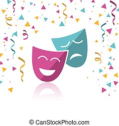 Masks with confetti and reflection on white background