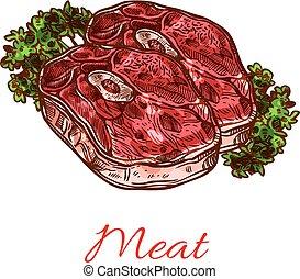 maso, řízek, osamocený, skica, jako, strava, design