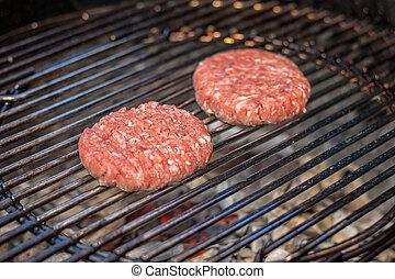 maso, grilovaný, burgers, ve volné přírodě, -, gril