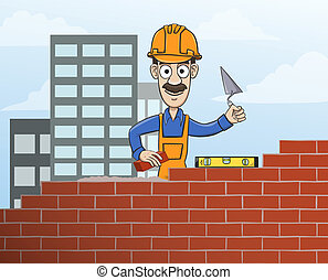 Mason building red brick wall - Construction site mason...