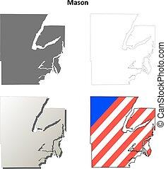 Mason County, Washington outline map set