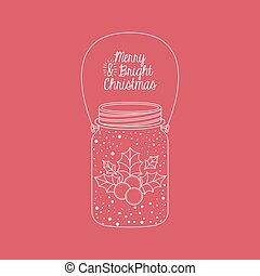 Mason jar decoration for Christmas season - Leaf and berry...