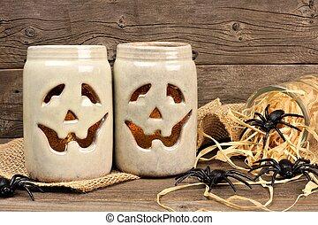 Mason jar Jack o Lanterns with spiders