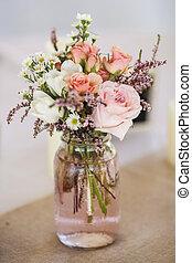 mason jar of roses, table decoration for wedding