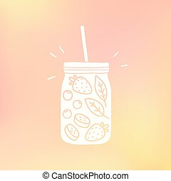 Mason jar with fruits.