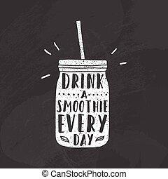 Mason jar with smoothie.