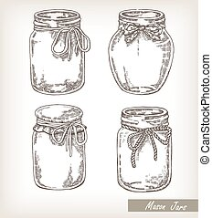 Mason jars set. Collection hand drawn vector illustration of jar