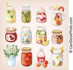 Mason jars with things - Variety of mason jars with...