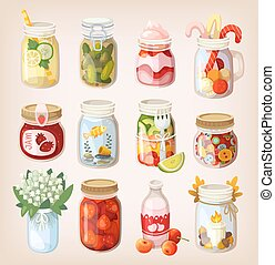 Mason jars with things - Variety of mason jars with...