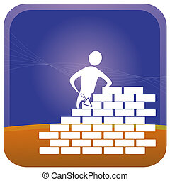Mason - mason building bricks with tools