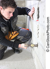 Mason on construction site