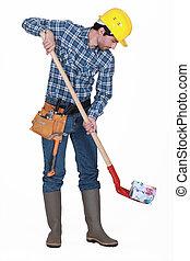 Mason shoveling money