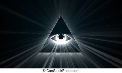 Mason symbolism all seeing eye, computer generated. 3d render delta with rays on dark background