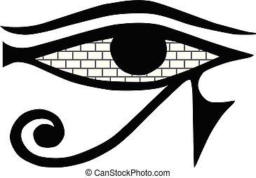 masonic, ősi, isolated., jelkép, all-seeing, aláír, háttér., közfal, vektor, fehér, kőműves, kőművesség, egyiptom, eye.