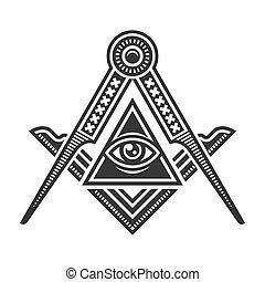 masonic, ベクトル, バックグラウンド。, ロゴ, 紋章, 白, アイコン, フリーメーソン団主義