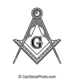 masonic, 紋章, ベクトル, フリーメーソン団主義, logo., アイコン