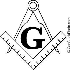 masonic, compas, carrée, freemason, symbole