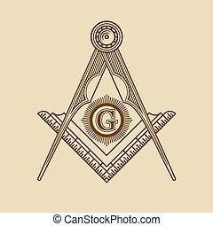 masonic, emblème, vecteur, franc-maçonnerie, logo., icône