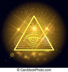 Masonic eye on golden shining background - Masonic eye of...