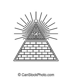 Masonic Illuminati Symbols, Eye in Triangle Sign. Vector ...