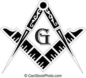 masonic, quadrado, emblema, símbolo, -, compasso, maçonaria