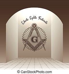 Masonic sign in arch with stone floor vector illustration. Liberte Egalite Fraternite