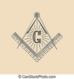 Masonic square and compass symbol, emblem, logo. Freemasonry vector illustration.