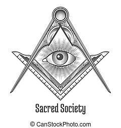 Masonic square and compass symbol. Mystic occult esoteric, ...