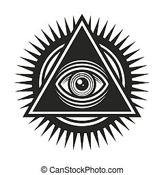 Masonic Symbol. All Seeing Eye Inside Pyramid Triangle Icon...