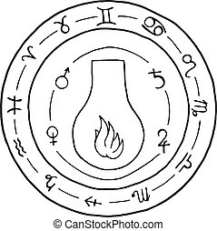 Masonic vial Emblem Icon Logo.