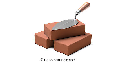 Masonry concept. Metal trowel hand tool with wooden handle on brown ceramic bricks isolated on white background. 3d illustration