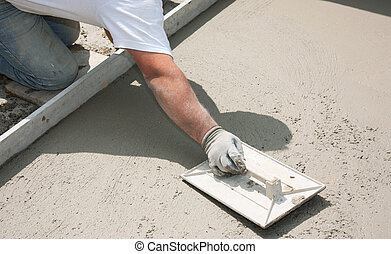 Masonry - Mason building a screed coat cement
