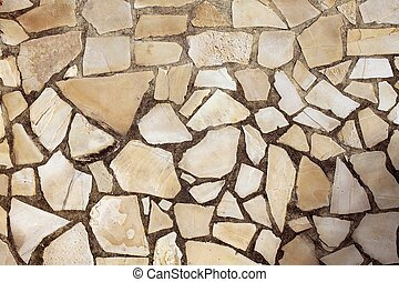 masonry rock stone tiles floor on the park background...