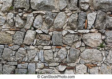 masonry., sten, forntida, gammal, wall.