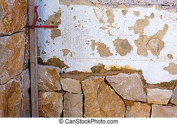 Masonry stone wall construcion process traditional stonework