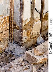 Masonry stone wall construcion process traditional