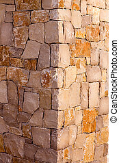 Masonry stone wall corner detail construcion work
