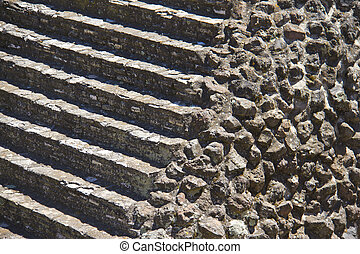 masonry texture and stone staircase