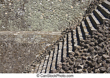 masonry texture and stone stairs