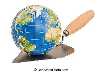 masonry trowel with Earth Globe, 3D rendering