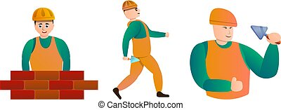 Masonry worker icons set, cartoon style