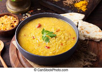 masoor, indien, soupe, lentille rouge, plat, dal., bread.
