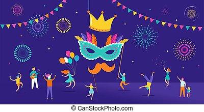 masopust, mládě, miniatura, národ, celebrating., malinký, grafické pozadí, dům, purim, děti, tančení, dospělí, skákání, strana