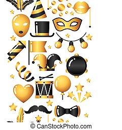 masopust, seamless, model, s, zlatý, ikona, a, objects., oslava, strana, grafické pozadí