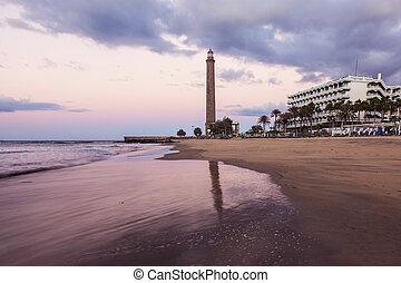 Maspalomas lighthouse at sunrise