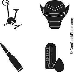 masque, autre, vélos, noir, icône, toile, ensemble, collection., thermomètre, style., exercice, icônes, cartouche